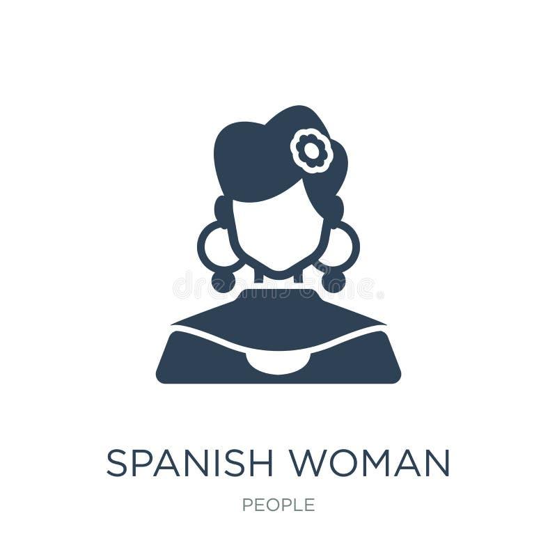 icono español de la mujer en estilo de moda del diseño icono español de la mujer aislado en el fondo blanco icono español del vec ilustración del vector
