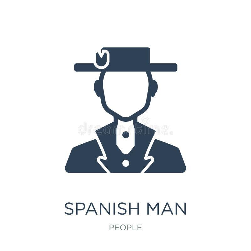 icono español del hombre en estilo de moda del diseño icono español del hombre aislado en el fondo blanco icono español del vecto ilustración del vector