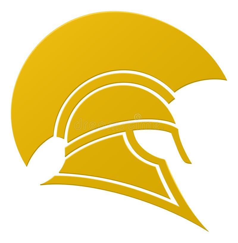 Icono espartano o troyano del casco stock de ilustración