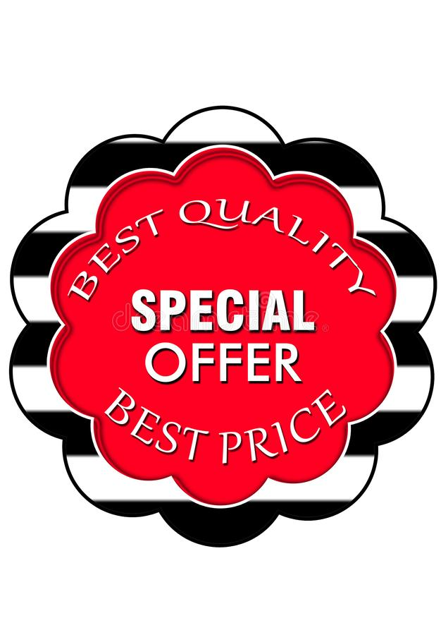 Icono especial de la web del botón de la oferta de la calidad de la venta de la estación mejor ilustración del vector