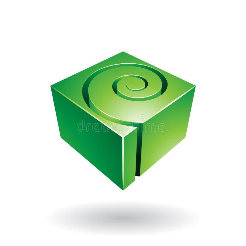 Icono espiral cúbico del extracto de la forma stock de ilustración