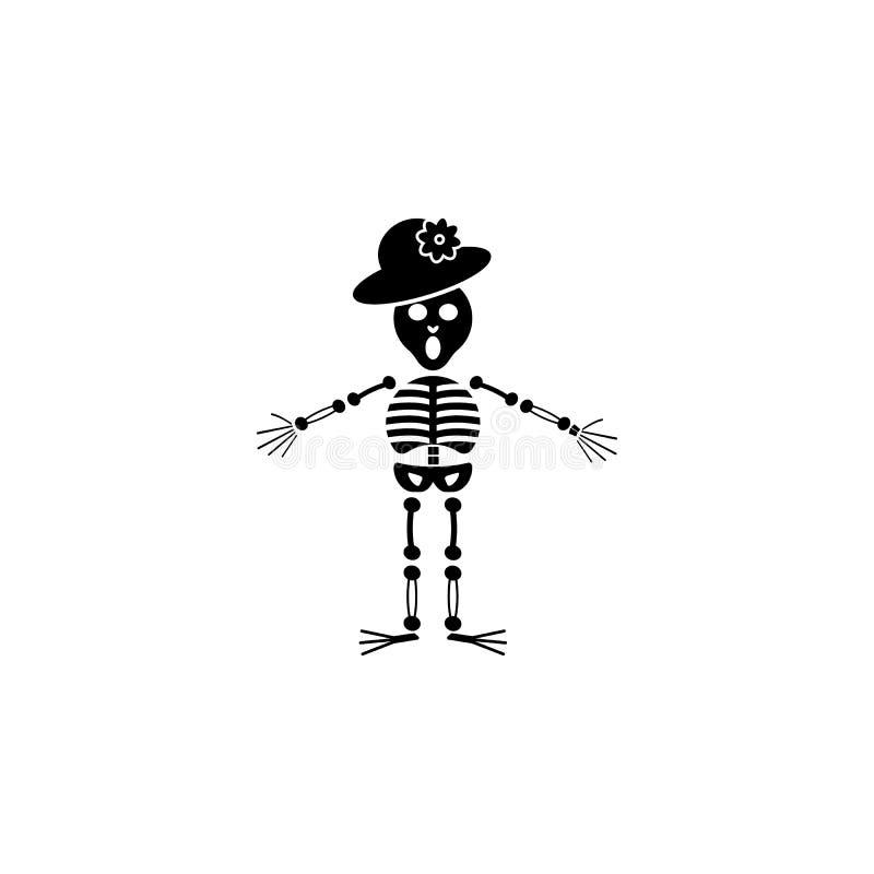 Icono esquelético Elemento del icono muerto del día para los apps móviles del concepto y de la web El icono esquelético detallado ilustración del vector