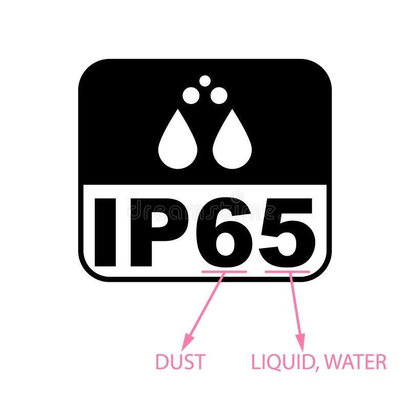 Icono estándar del certificado de la protección IP65 Símbolo protegido resistente del agua y del polvo o de los sólidos Ilustraci libre illustration