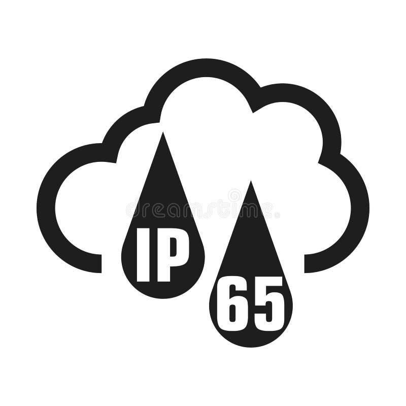 Icono est?ndar del certificado de la protecci?n IP65 S?mbolo protegido resistente del agua y del polvo o de los s?lidos Ilustraci libre illustration