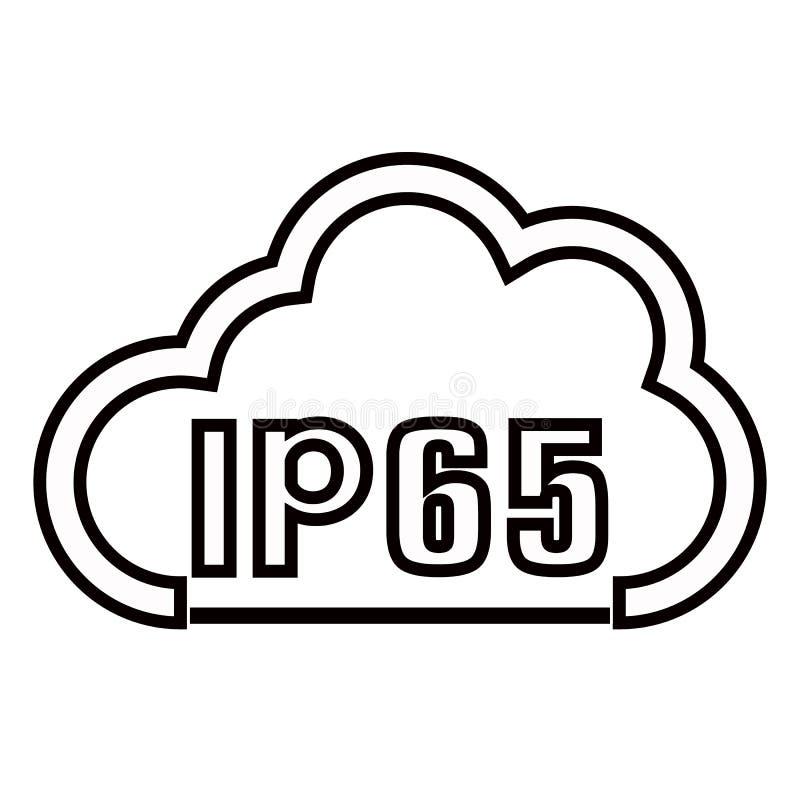 Icono est?ndar del certificado de la protecci?n IP65 S?mbolo protegido resistente del agua y del polvo o de los s?lidos Ilustraci stock de ilustración