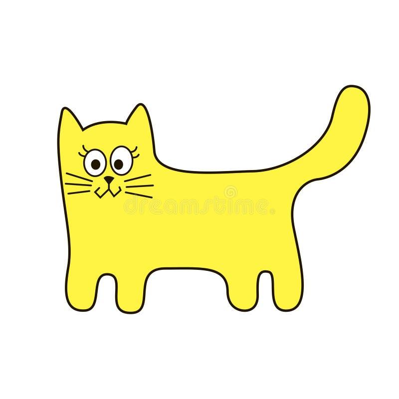 Icono estilizado divertido de la historieta de la muestra del gato en líneas de la curva fotografía de archivo