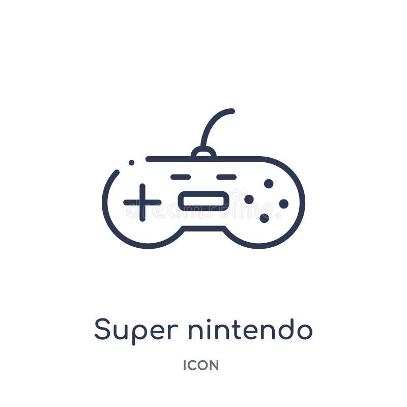 Icono estupendo linear de Nintendo del entretenimiento y de la colección del esquema de la arcada Línea fina vector estupendo de  ilustración del vector