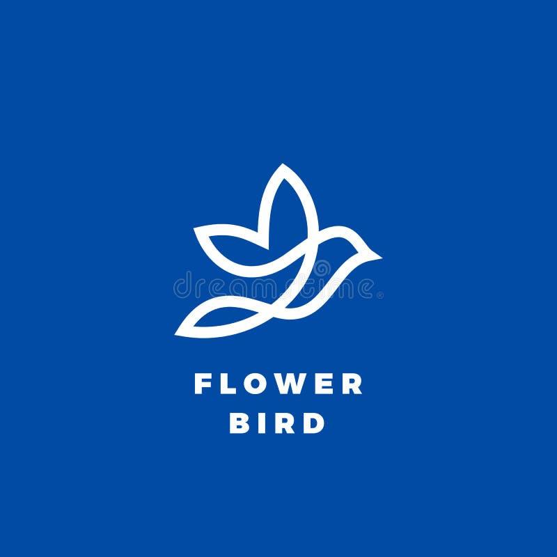 Icono, etiqueta o Logo Template del vector del extracto del pájaro de la flor Línea silueta del estilo Blanco en fondo azul stock de ilustración