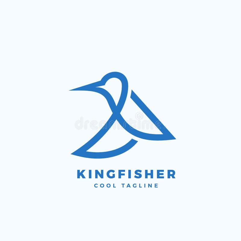 Icono, etiqueta o Logo Template del vector del extracto del pájaro del martín pescador Línea silueta de Minimalistic del estilo stock de ilustración