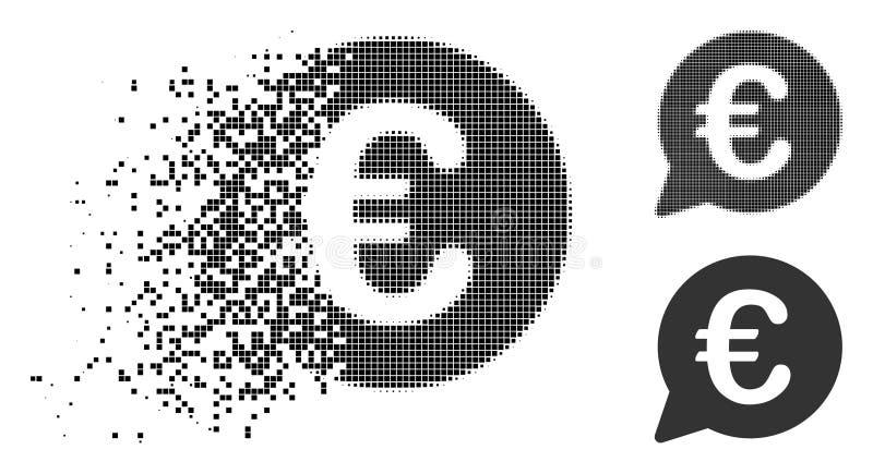 Icono euro de semitono disperso de la burbuja del mensaje de Pixelated ilustración del vector