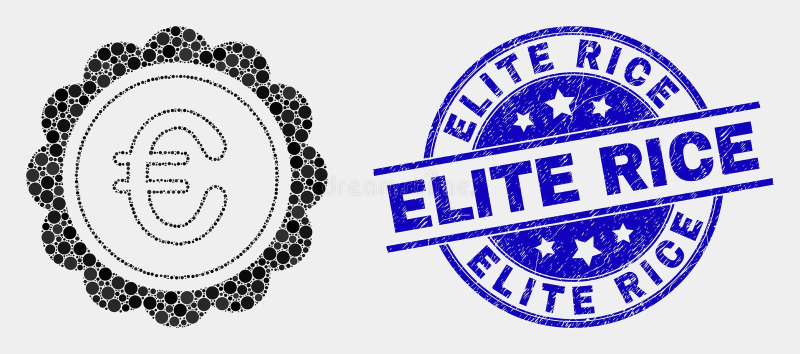 Icono euro del premio del pixel del vector y filigrana rasguñada del arroz de la élite stock de ilustración