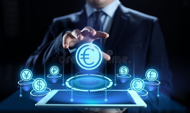 Icono euro en la pantalla Concepto del negocio de las divisas del tipo de cambio del comercio de divisas imagen de archivo libre de regalías