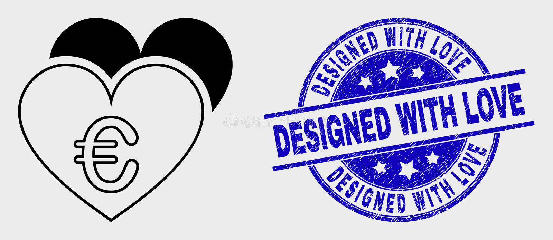 Icono euro linear de los corazones del amor del vector y apenar diseñado con el sello del sello del amor ilustración del vector