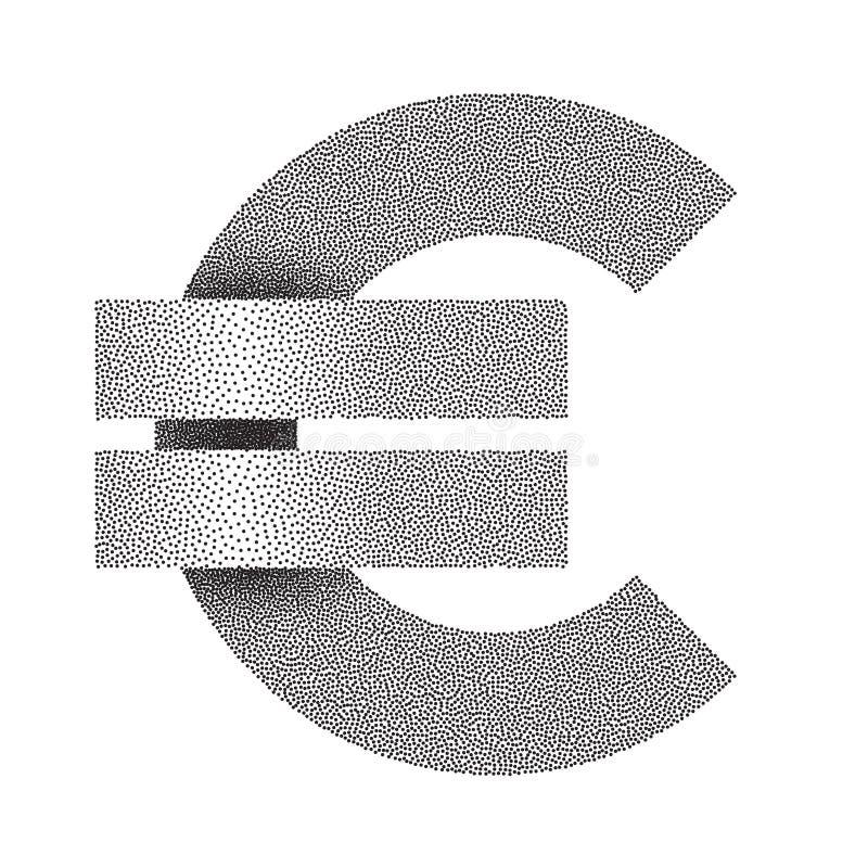 Icono euro punteado de la muestra Símbolo de dinero en circulación euro Ilustración del vector ilustración del vector