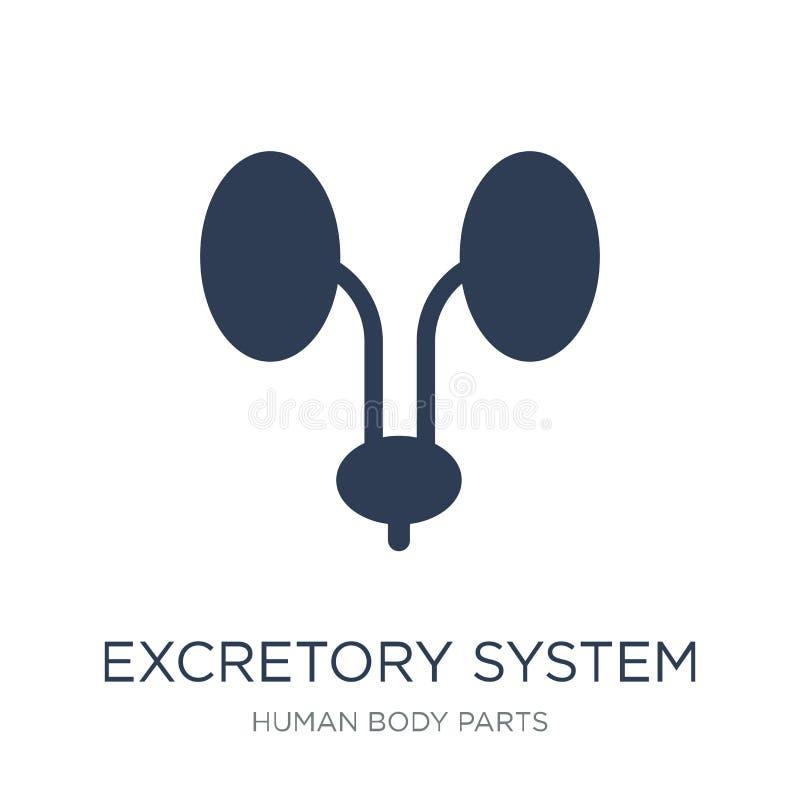 Icono excretorio del sistema Icono excretorio del sistema del vector plano de moda ilustración del vector