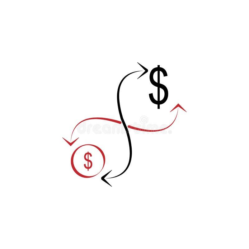 Icono exhausto coloreado de la mano del flujo de dinero 2 Ejemplo del elemento coloreado del flujo de dinero Diseño del símbolo d libre illustration