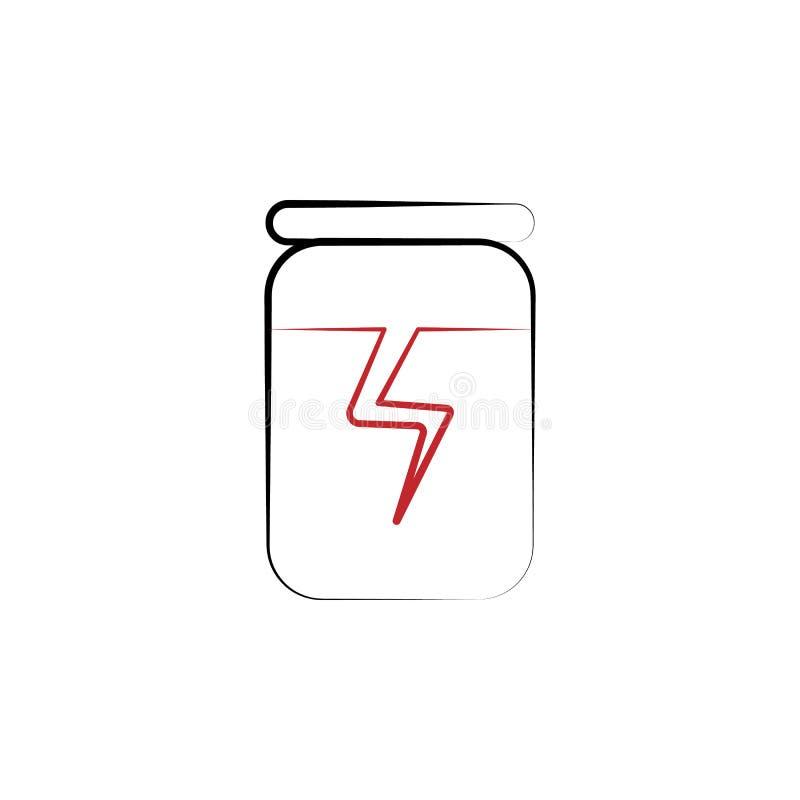 Icono exhausto coloreado de la mano de la dosis 2 de la energía Ejemplo del elemento coloreado de la dosis de la energía Diseño d libre illustration