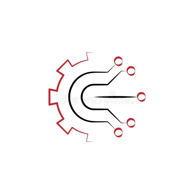 icono exhausto coloreado de la mano de la electrónica 2 Ejemplo del elemento coloreado de la electrónica Diseño del símbolo del e ilustración del vector