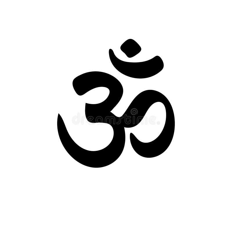 Icono exhausto de OM del vector de la mano Logotipo del estudio de la yoga stock de ilustración