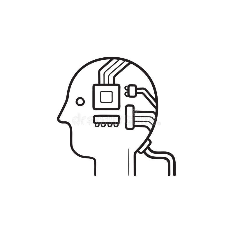 Icono exhausto del garabato del esquema de la mano de la inteligencia artificial y del aprendizaje de máquina libre illustration