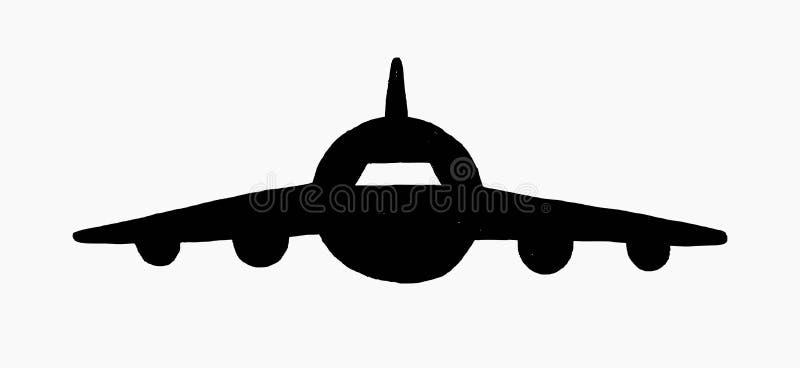 Icono exhausto del garabato del vector de la mano de una vista delantera del aeroplano aislado en el fondo blanco stock de ilustración