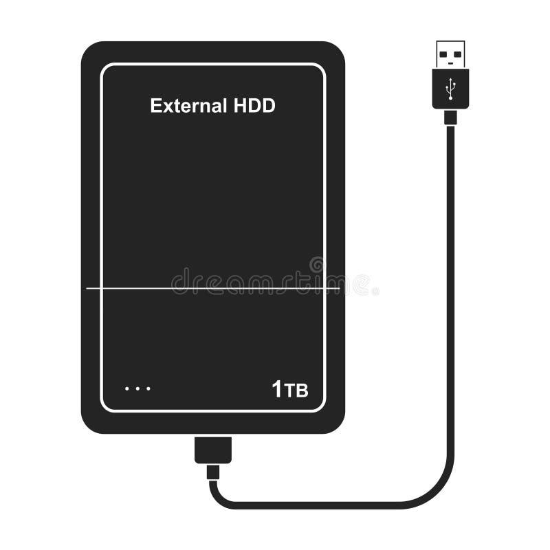 Icono externo de la unidad de disco duro con el cable del USB aislado en fondo oscuro HDD extern portátil Impulsión de la memoria ilustración del vector