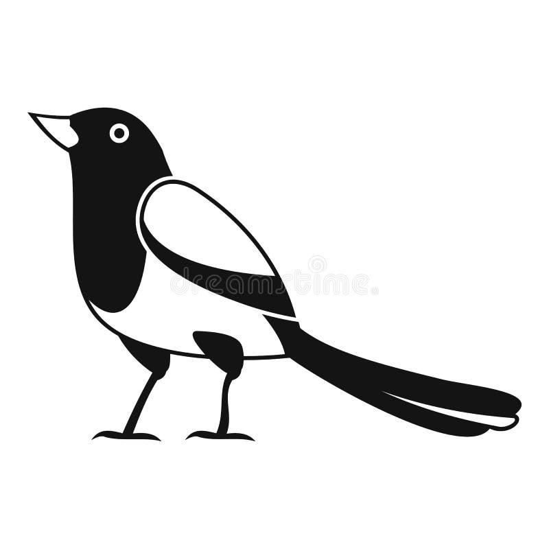 Icono extraño de la urraca, estilo simple ilustración del vector