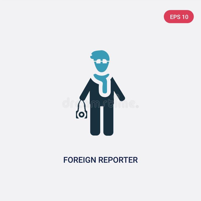 Icono extranjero bicolor del vector del reportero del concepto de la gente el símbolo extranjero azul aislado de la muestra del v stock de ilustración