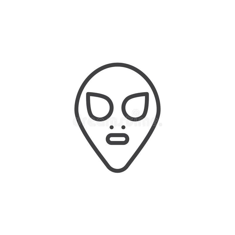 Icono extranjero del esquema de la máscara ilustración del vector