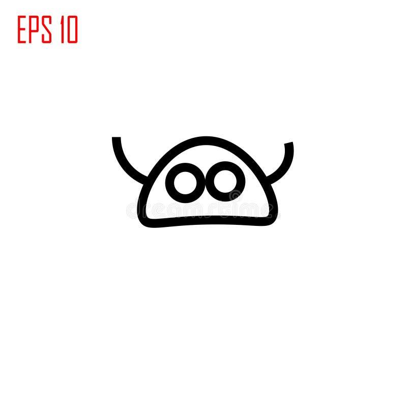 Icono extranjero La cabeza extranjera con las antenas firma stock de ilustración