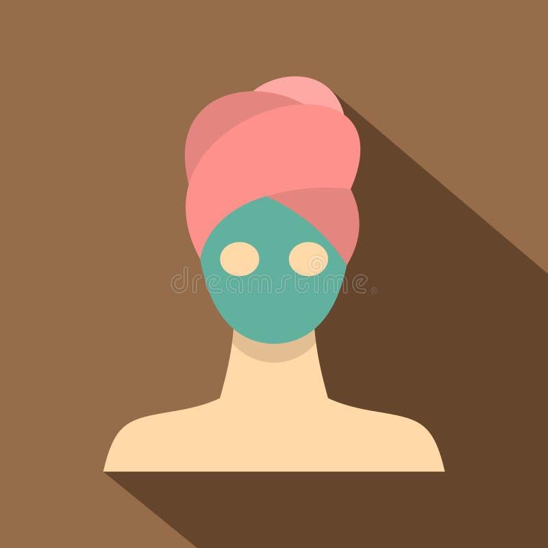 Icono facial de la máscara de la arcilla del balneario, estilo plano libre illustration
