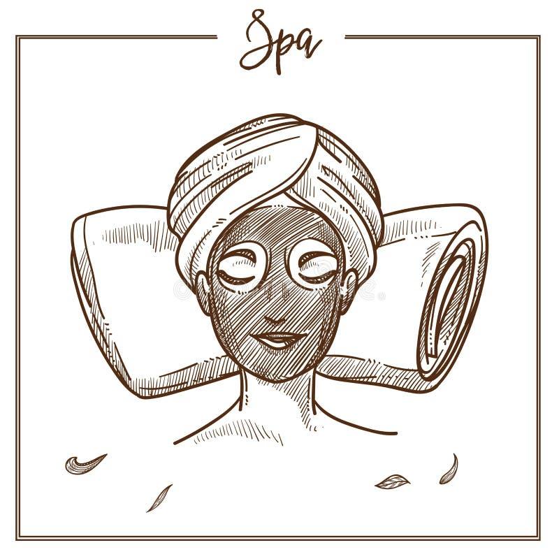 Icono facial del bosquejo del vector del tratamiento de la máscara de la mujer del salón del BALNEARIO libre illustration