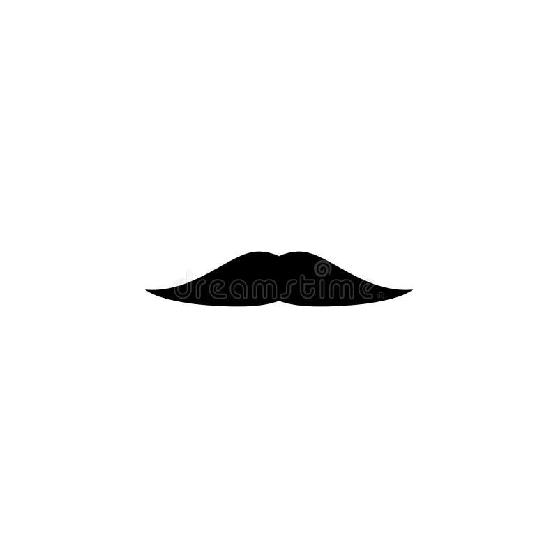 Icono falso retro divertido del negro del bigote Silueta para hombre del bigote libre illustration