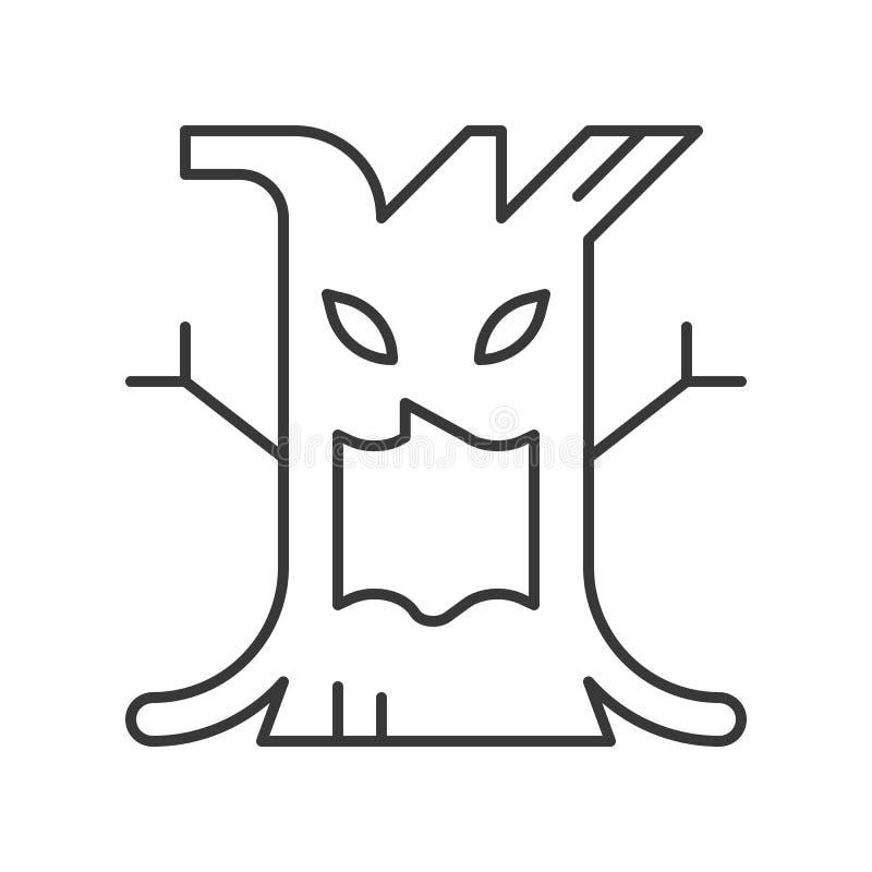 Icono fantasmagórico del diseño de carácter de Halloween del árbol, movimiento editable libre illustration