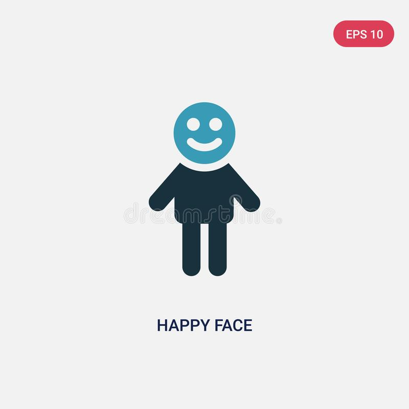 Icono feliz bicolor del vector de la cara del concepto de la gente el símbolo feliz azul aislado de la muestra del vector de la c stock de ilustración