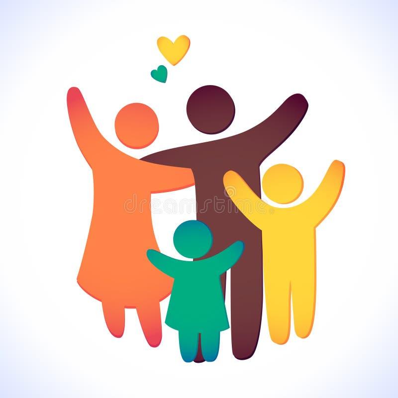 Icono feliz de la familia multicolor en figuras simples Dos niños, el papá y la mamá se unen El vector se puede utilizar como log ilustración del vector