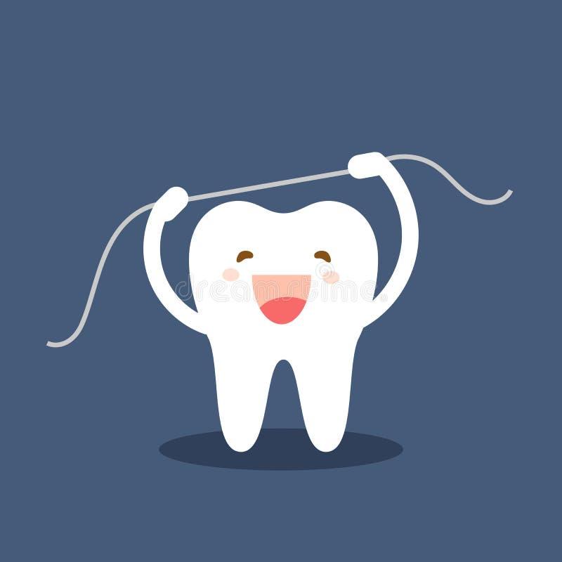 Icono feliz del diente Caracteres lindos del diente El flossing de cepillado de los dientes Ejemplo dental del vector del persona stock de ilustración