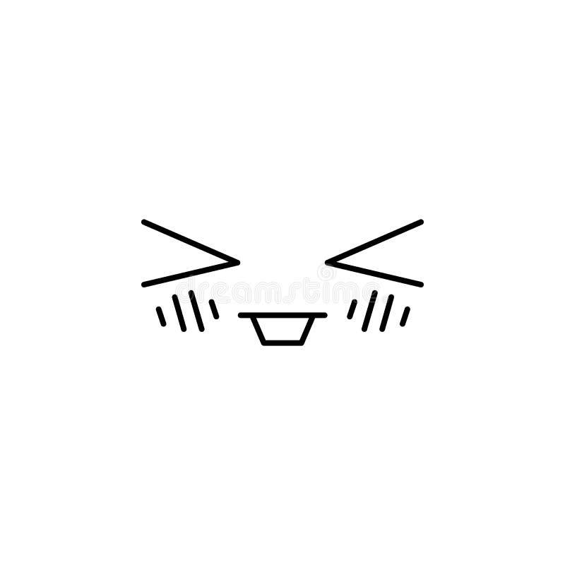 Icono feliz del estilo del kawaii del emoticon de la cara libre illustration