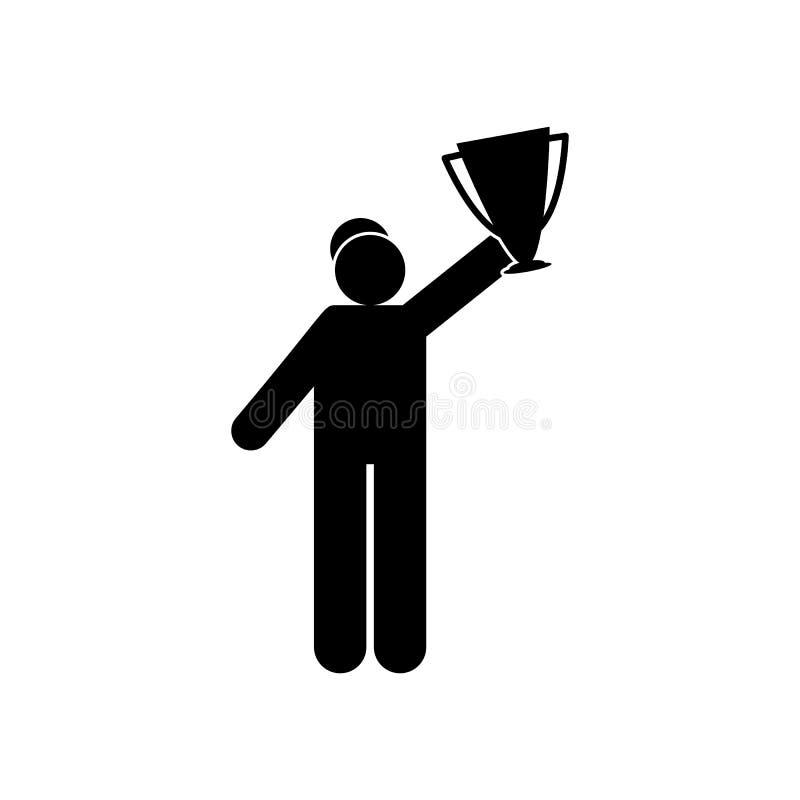 Icono feliz del glyph del b?isbol del hombre Elemento del icono del ejemplo del deporte del b?isbol Las muestras y los s?mbolos s stock de ilustración
