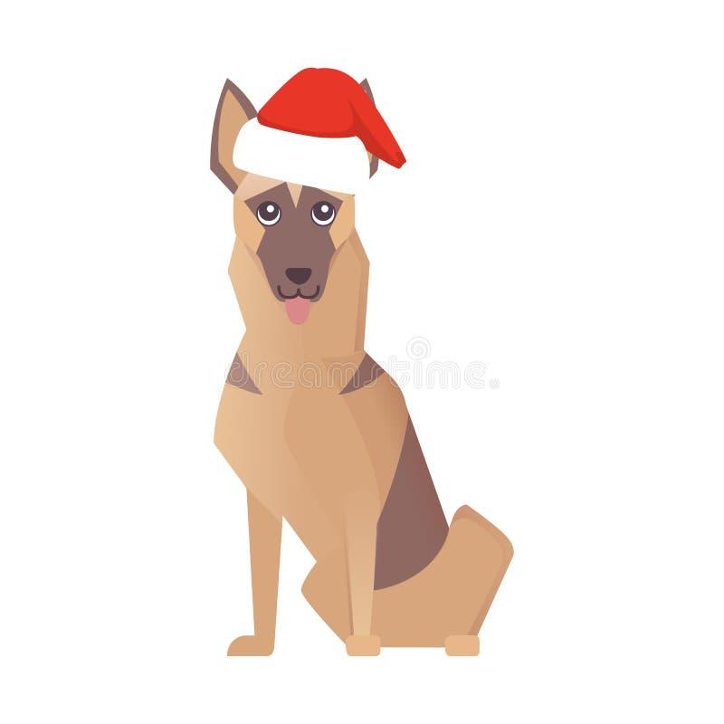 Icono feliz del perro de Newyear ejemplo de la historieta del vector de la Navidad stock de ilustración