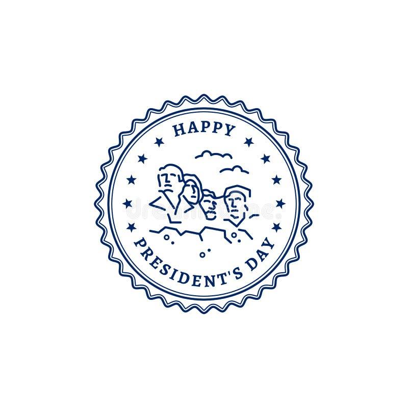Icono feliz del sello de presidentes Day Monumento nacional americano los E.E.U.U. de presidentes el monte Rushmore Ilustración d ilustración del vector