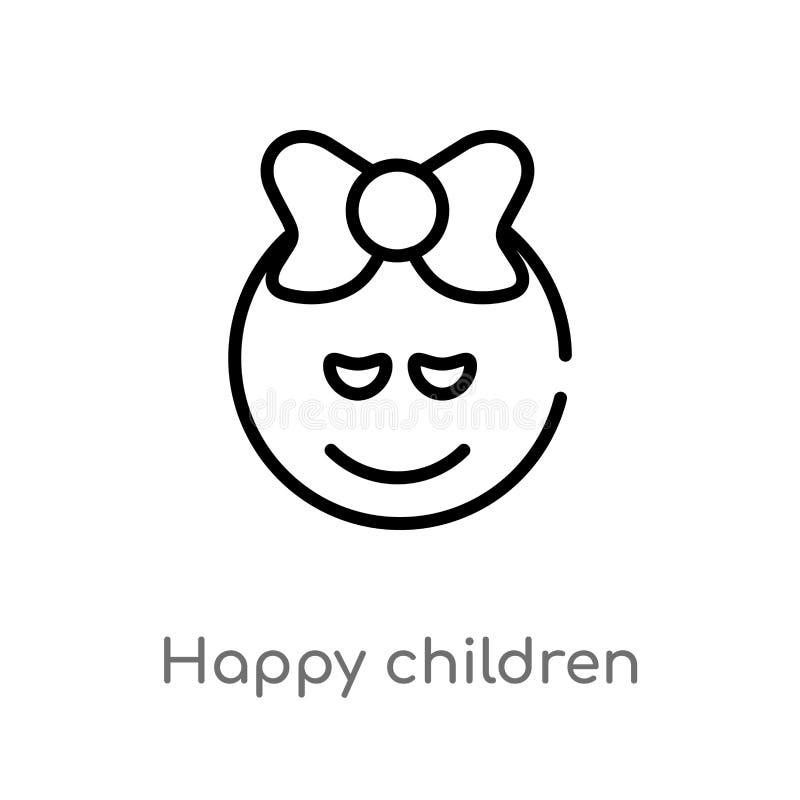 icono feliz del vector de los niños del esquema l?nea simple negra aislada ejemplo del elemento de ni?os y del concepto del beb?  libre illustration