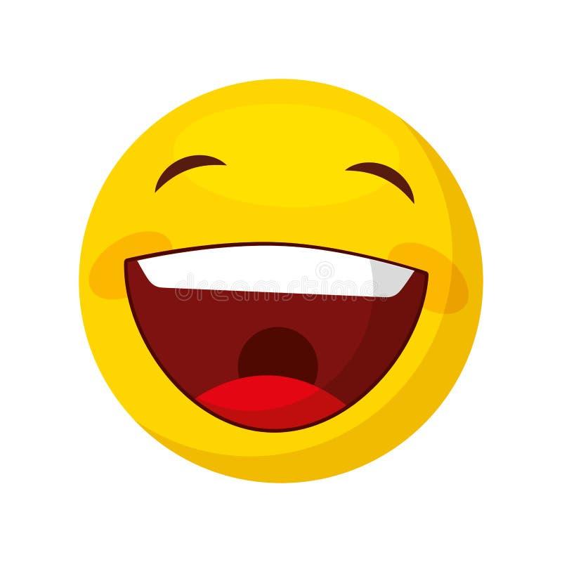 Icono feliz divertido del emoticon ilustración del vector