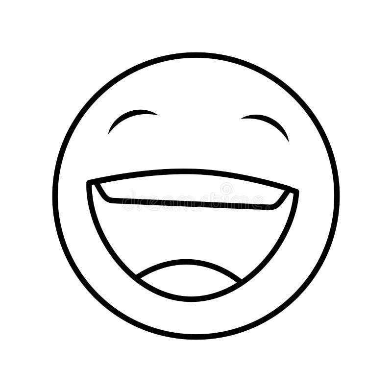 Icono feliz divertido del emoticon stock de ilustración