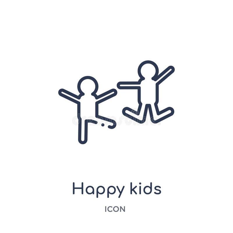 Icono feliz linear de los niños de la colección del esquema de la caridad Línea fina vector feliz de los niños aislado en el fond libre illustration