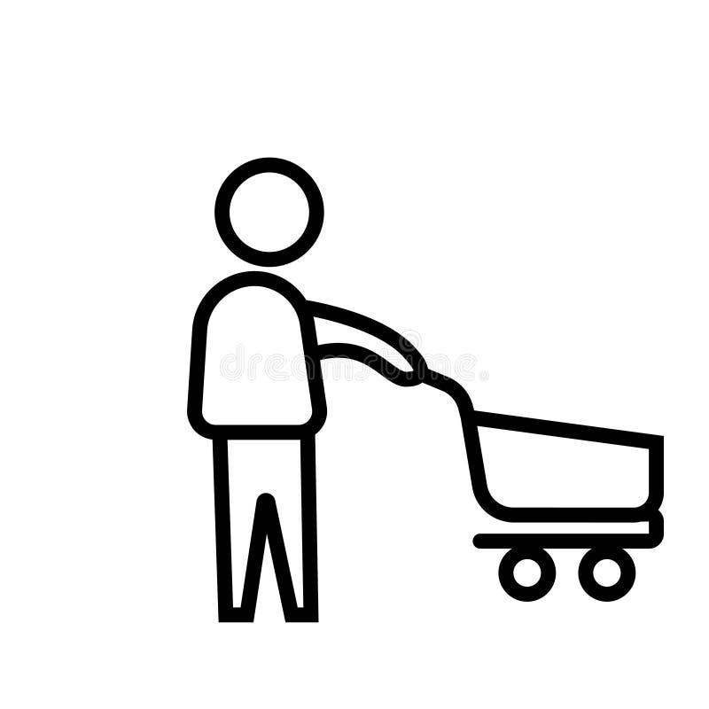 Icono feliz linear negro feliz del símbolo del ejemplo del vector que hace compras que hace compras libre illustration