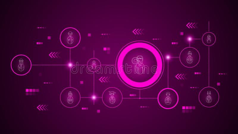 icono femenino del centro de atenci?n telef?nica del empleado del avatar De sistema de los avatares ilustración del vector