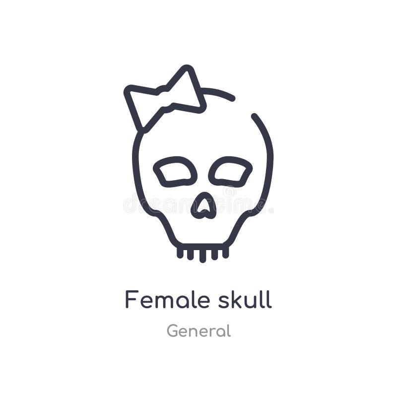 icono femenino del esquema del cráneo l?nea aislada ejemplo del vector de la colecci?n general icono femenino del cráneo del movi libre illustration