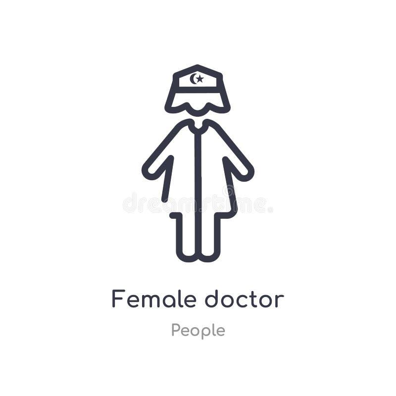 icono femenino del esquema del doctor l?nea aislada ejemplo del vector de la colecci?n de la gente icono femenino del doctor del  libre illustration