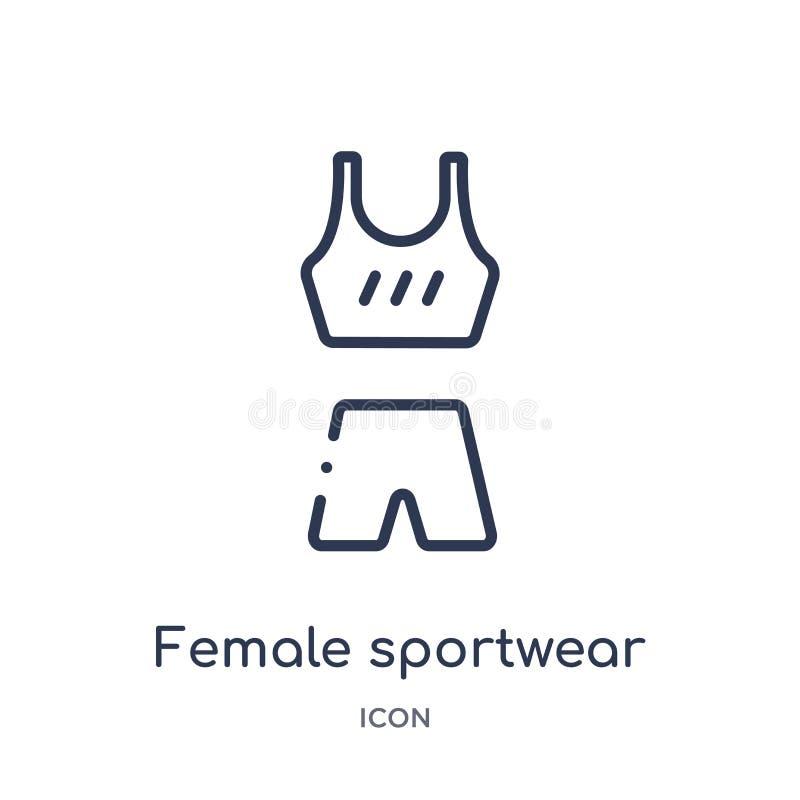 Icono femenino linear del sportwear del gimnasio y de la colección del esquema de la aptitud Línea fina icono femenino del sportw libre illustration